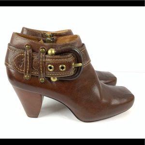 ☮️ Frye Andie ankle shoe boot buckle zip up 9